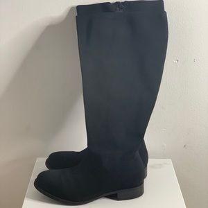 Black Elastic Knee Boot